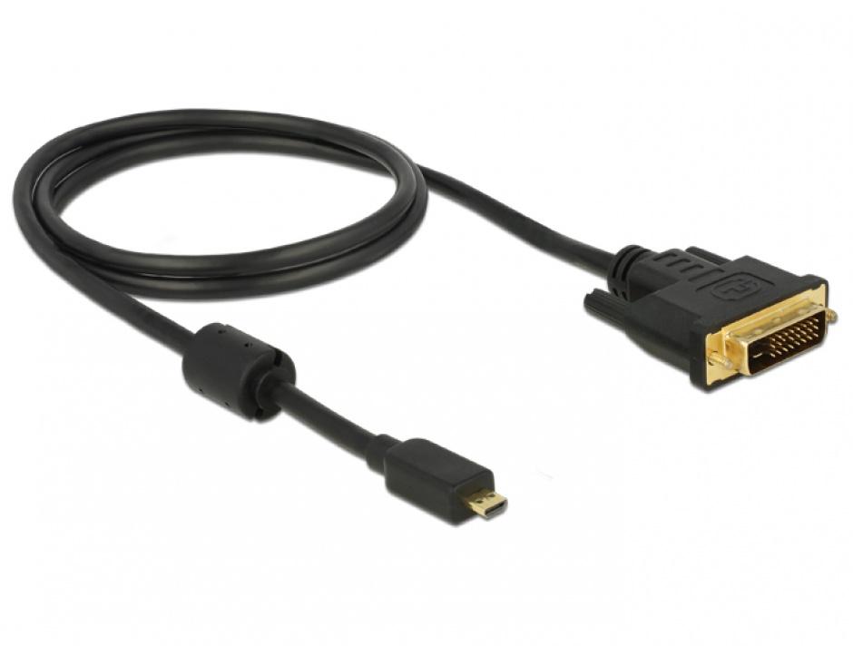 Imagine Cablu Micro-D HDMI la DVI T-T 1m Negru, Delock 83585