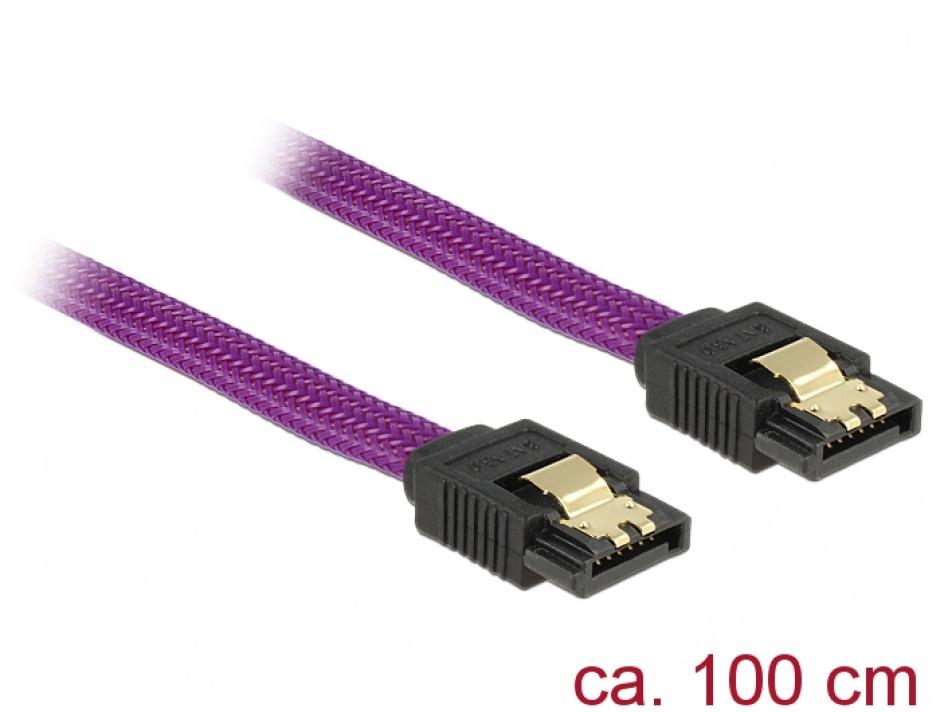 Imagine Cablu SATA III 6 Gb/s 100cm drept Premium, Delock 83692