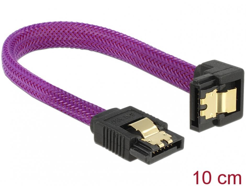 Imagine Cablu SATA III 6 Gb/s 10cm drept/unghi Premium, Delock 83693