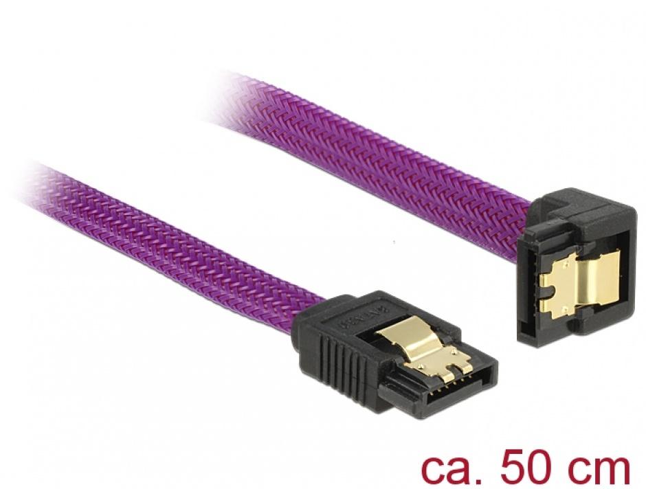Imagine Cablu SATA III 6 Gb/s 50cm drept/unghi Premium, Delock 83696
