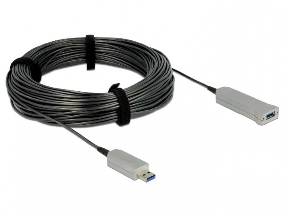 Imagine Cablu prelungitor USB 3.0 optic activ T-M 50m, Delock 83740