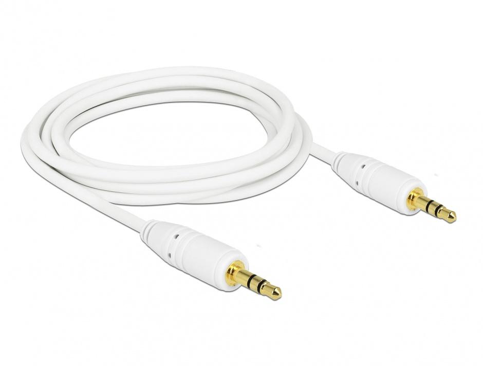 Imagine Cablu stereo jack 3.5mm 3 pini Alb T-T 3m, Delock 83749