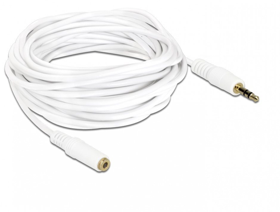 Imagine Cablu prelungitor audio jack 3.5mm 5m Alb, Delock 83771