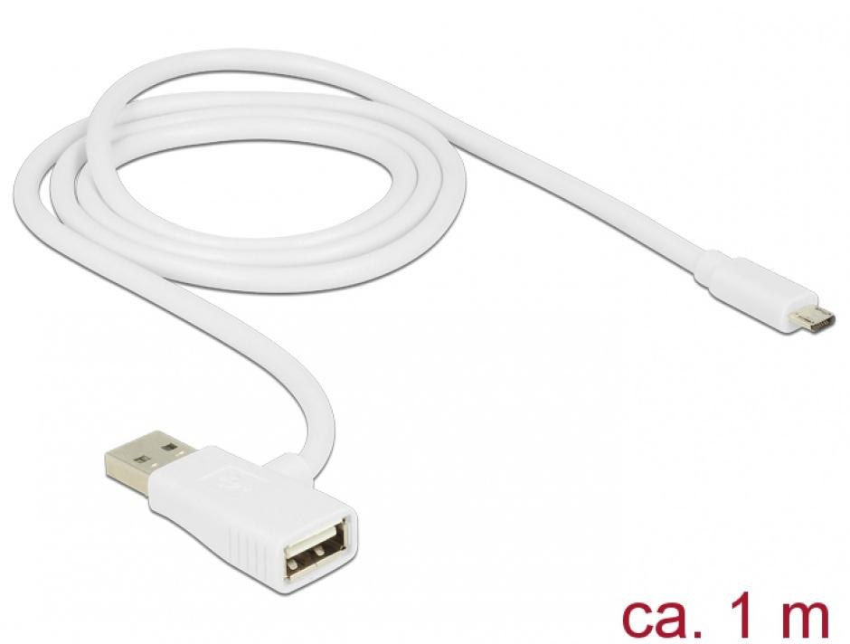 Imagine Cablu Quick/Fast Charge (incarcare rapida) USB 2.0 la micro USB-B 1m, Delock 83774