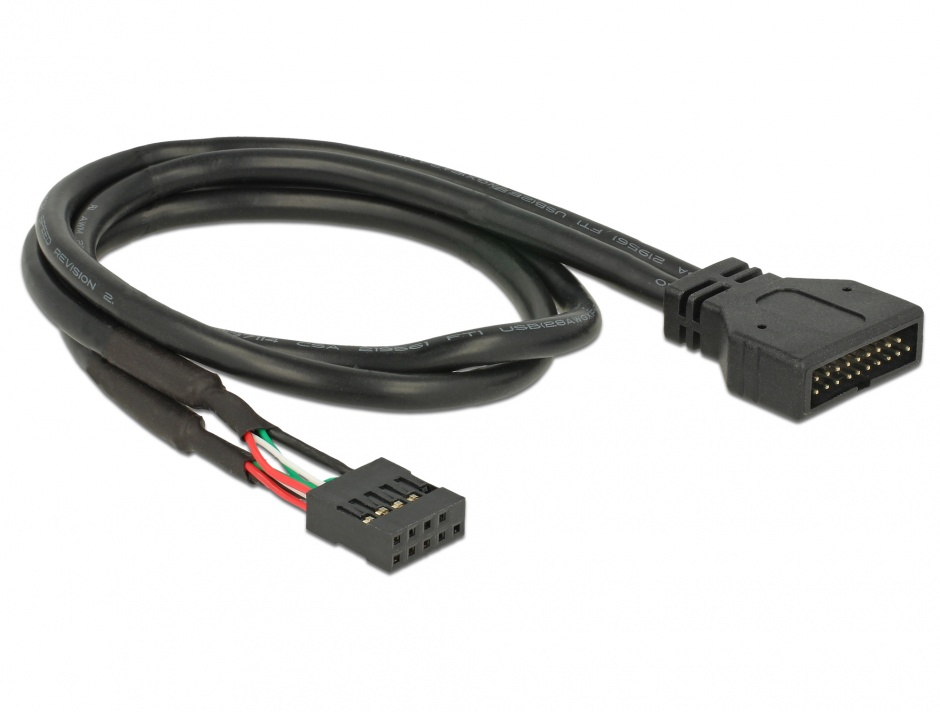Imagine Cablu pin header USB 2.0 la USB 3.0 M-T 45cm, Delock 83776