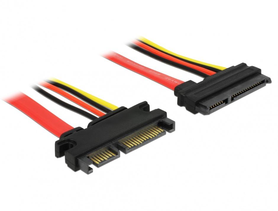 Imagine Cablu prelungitor SATA III 22 pini 6 Gb/s T-M (5V+12V) 10cm, Delock 83802
