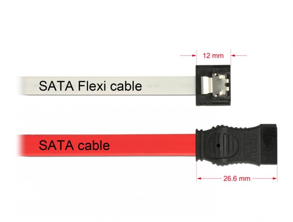 Imagine Cablu SATA III FLEXI 6 Gb/s 30 cm white metal, Delock 83831