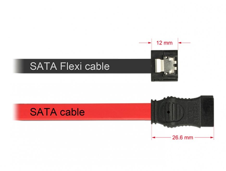 Imagine Cablu SATA III FLEXI 6 Gb/s 30 cm black metal, Delock 83840