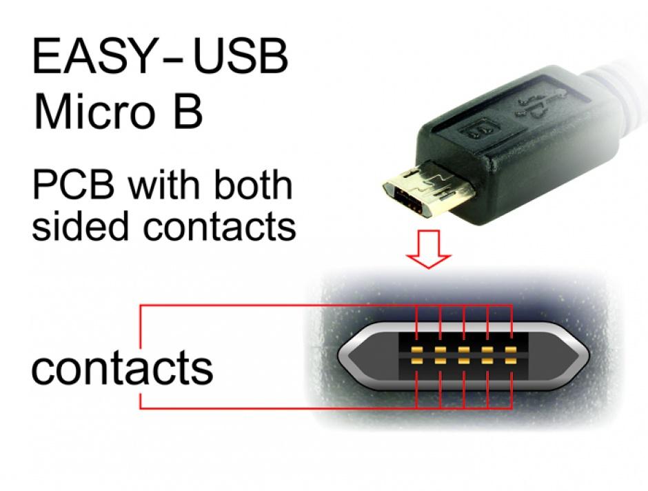 Imagine Cablu EASY-USB 2.0 tip A la micro USB-B EASY-USB unghi stanga/dreapta T-T 3m Negru, Delock 83854