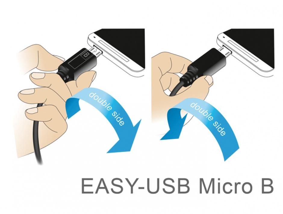 Imagine Cablu EASY-USB 2.0 tip A la micro USB-B EASY-USB unghi sus/jos T-T 3m Negru, Delock 83857