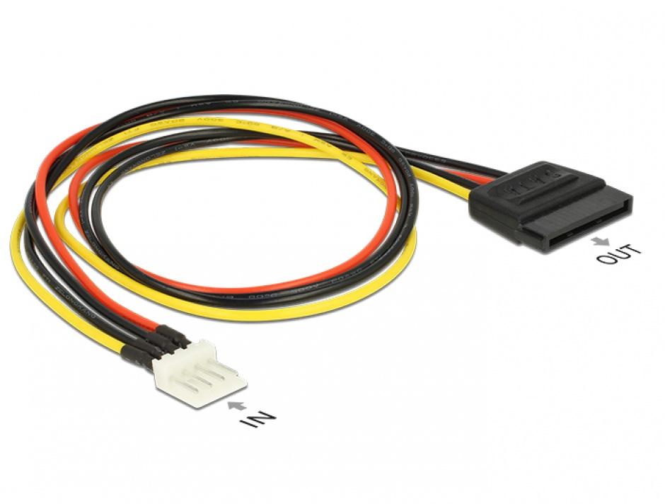 Imagine Cablu de alimentare SATA 15 pini la Floppy 4 pini 40cm M-T, Delock 83878