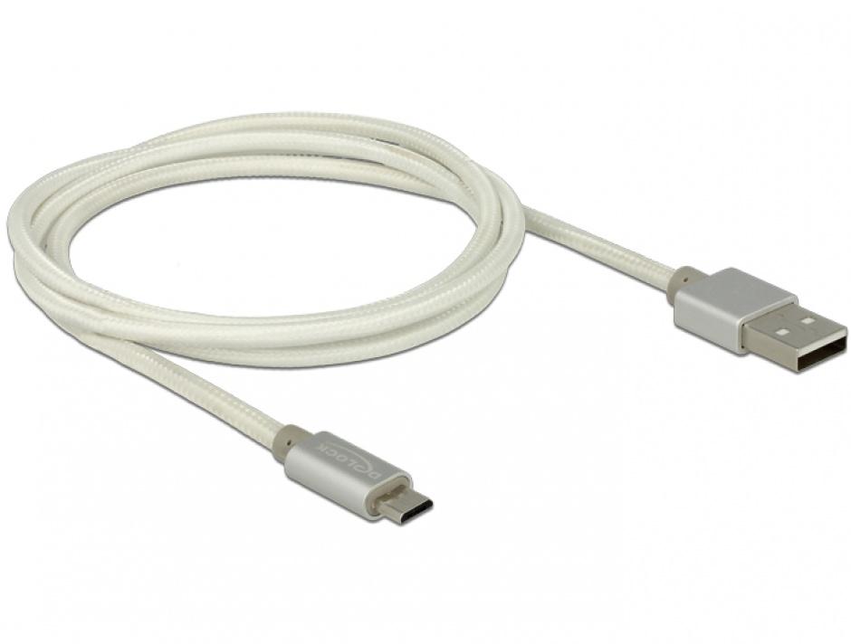 Imagine Cablu de incarcare + date micro USB-B la USB 2.0 T-T Alb 1m, Delock 83916
