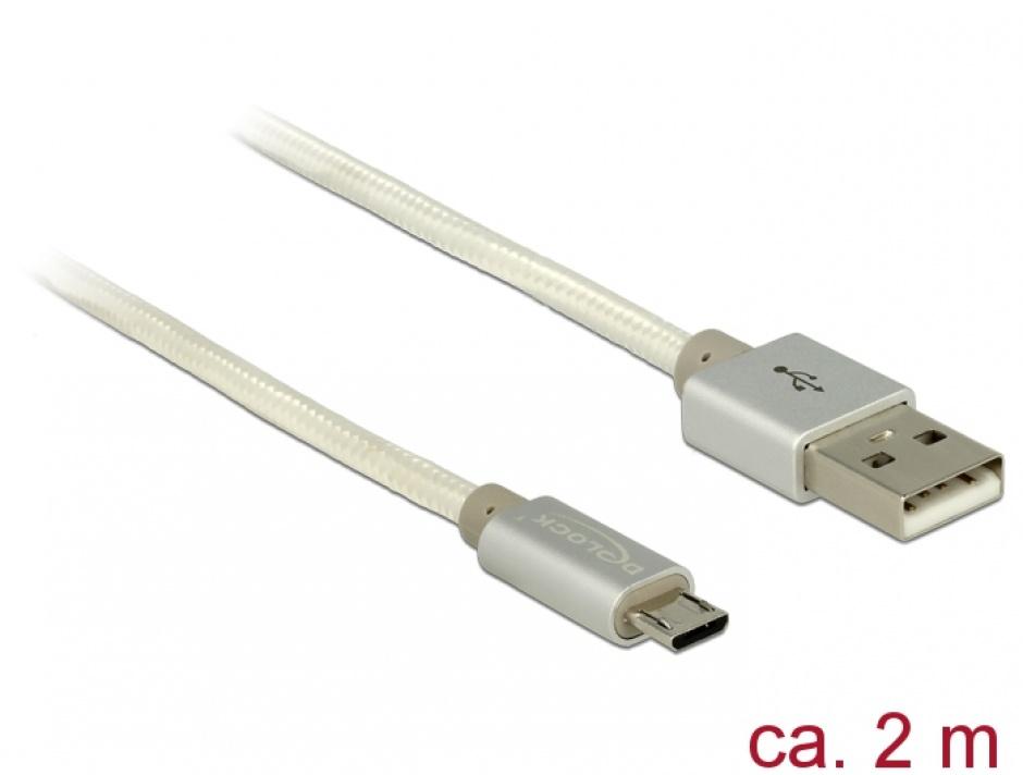 Imagine Cablu de incarcare + date micro USB-B la USB 2.0 T-T Alb 2m, Delock 83917
