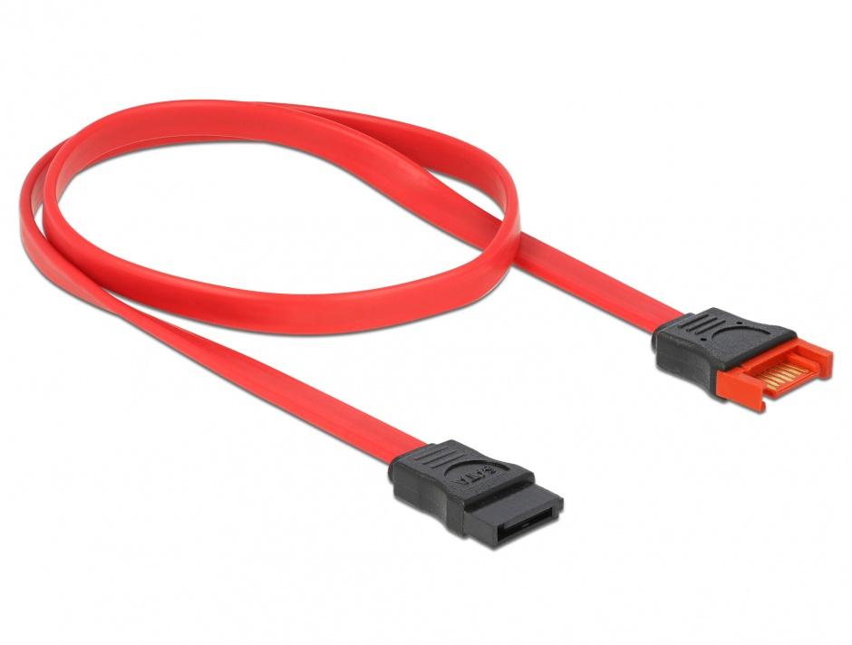 Imagine Cablu prelungitor SATA III 6 Gb/s date 50cm rosu, Delock 83954