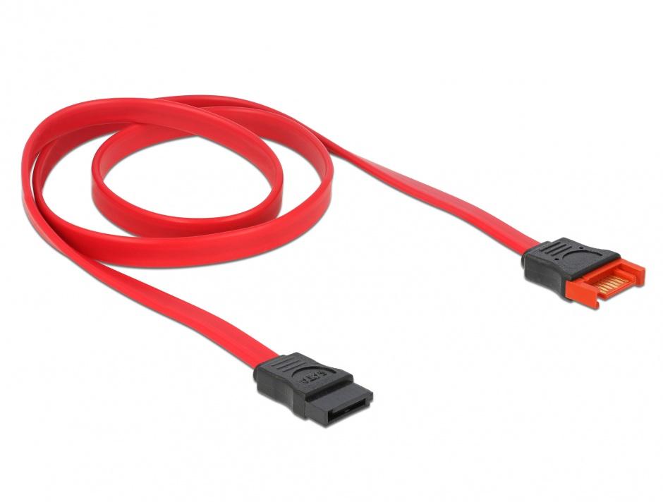 Imagine Cablu prelungitor SATA III 6 Gb/s date 70cm rosu, Delock 83955