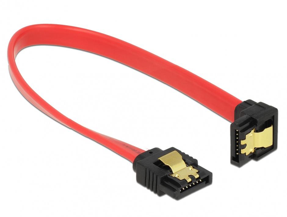 Imagine Cablu SATA III 6 Gb/s drept/jos cu fixare rosu 20cm, Delock 83977