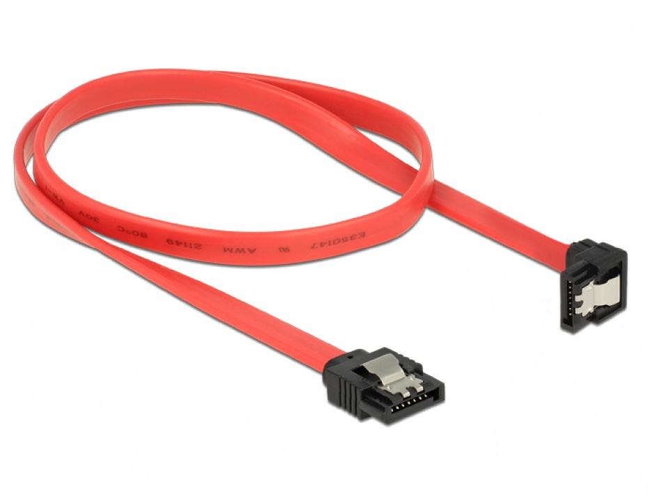 Imagine Cablu SATA III drept-unghi jos cu fixare 50cm, Delock 83979