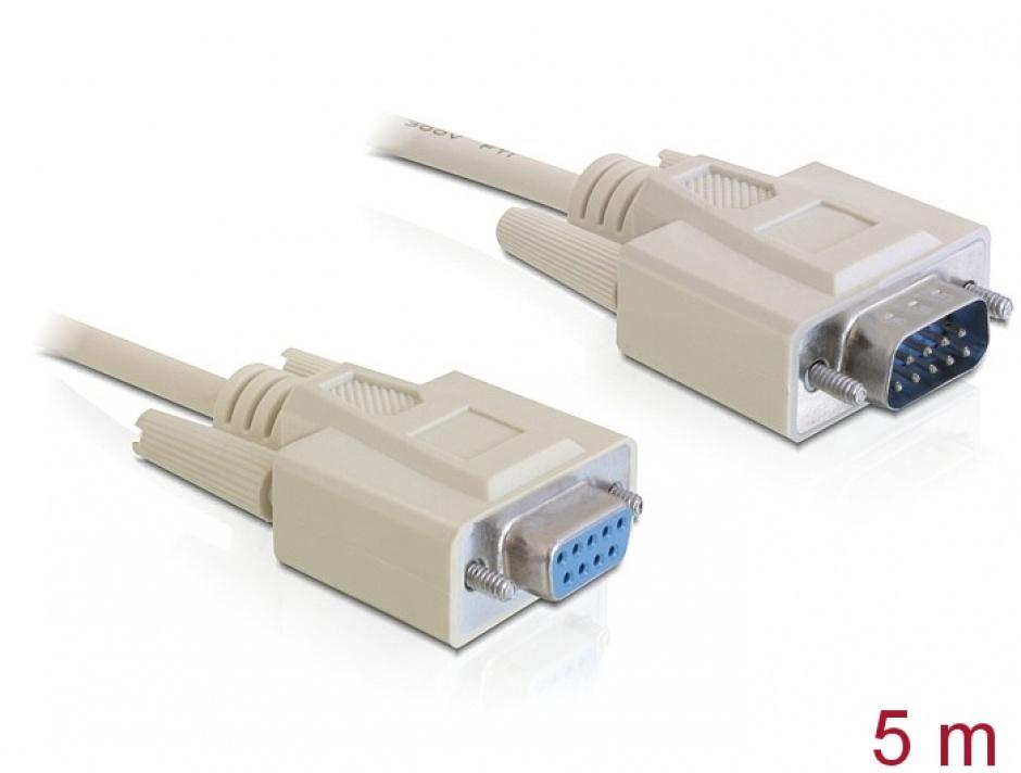 Imagine Cablu prelungitor Serial RS-232 DB9 T-M 5m, Delock 84016