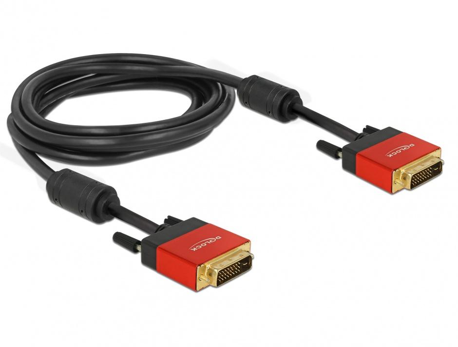 Imagine Cablu DVI-D Dual Link 24+1pini ecranat 3m, Delock 84346
