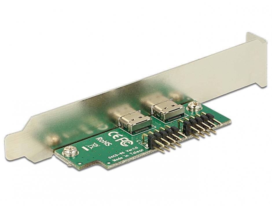 Imagine Bracket pin header USB 2.0 la 2 x USB tip C Low Profile, Delock 84754