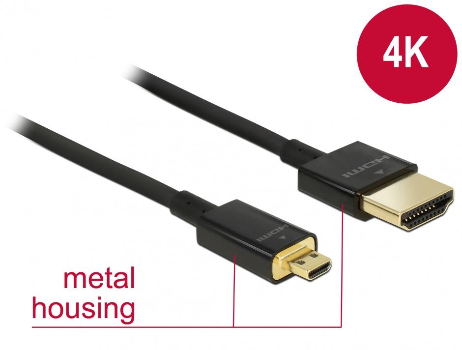 Imagine Cablu HDMI la micro HDMI-D T-T 3D 4K 1m Slim Premium, Delock 84781