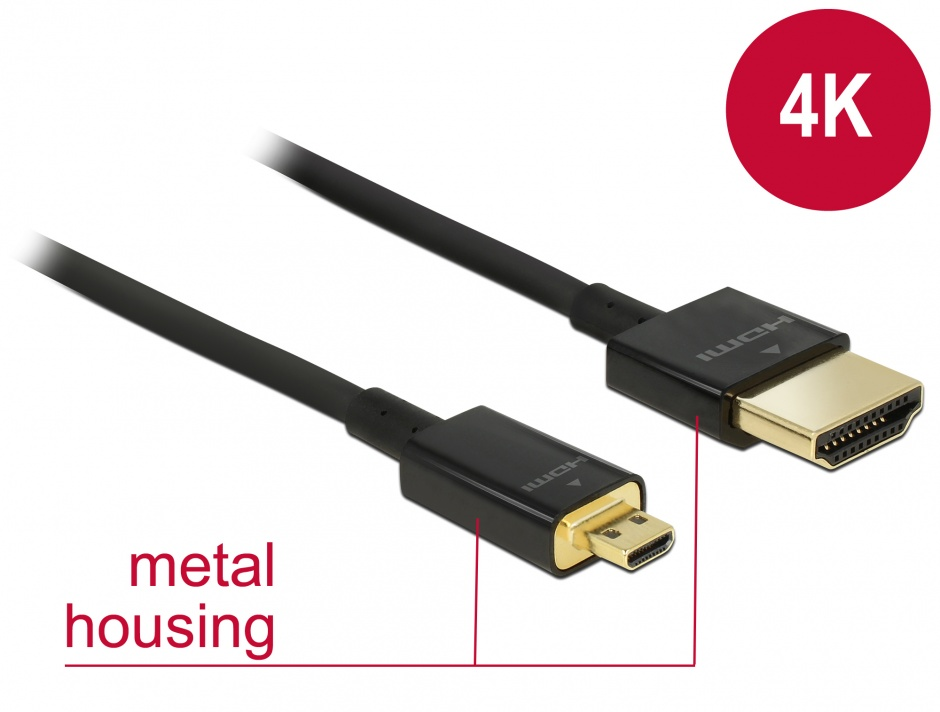 Imagine Cablu HDMI la micro HDMI-D T-T 3D 4K 2m Slim Premium, Delock 84783