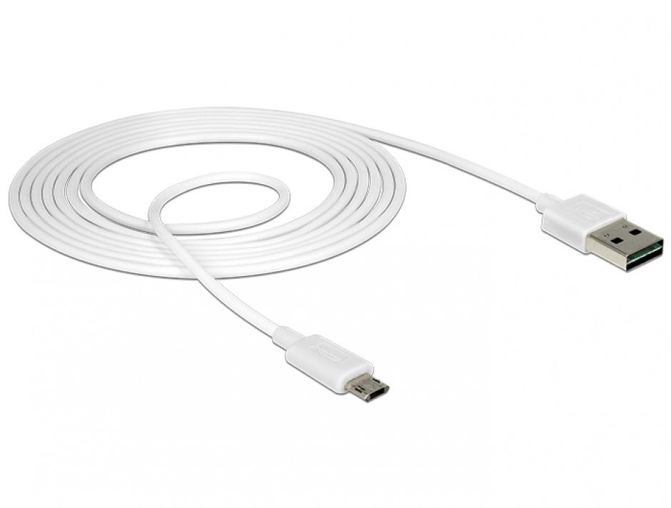Imagine Cablu EASY-USB 2.0 tip A la EASY-USB 2.0 tip Micro-B T-T Alb 2m, Delock 84808