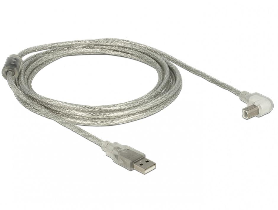 Imagine Cablu USB 2.0 tip A-B T-T unghi 3m transparent, Delock 84815