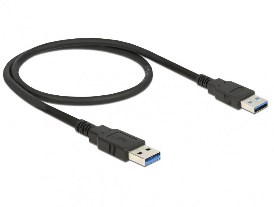 Imagine Cablu USB 2.0 tip A T-T 0.5m Negru, Delock 84888