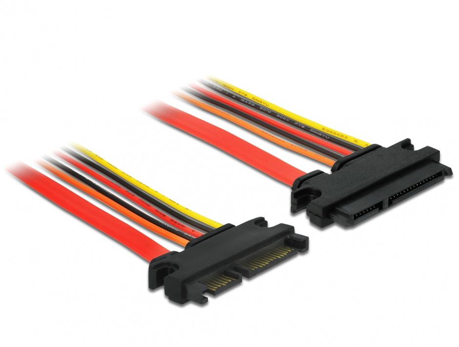 Imagine Cablu prelungitor SATA III 22 pini 6 Gb/s T-M (3.3V+5V+12V) 20cm, Delock 84918