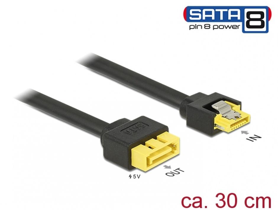 Imagine Cablu SATA 6 Gb/s 7 pini la conector de alimentare SATA 8 pini 0.3m, Delock 84946