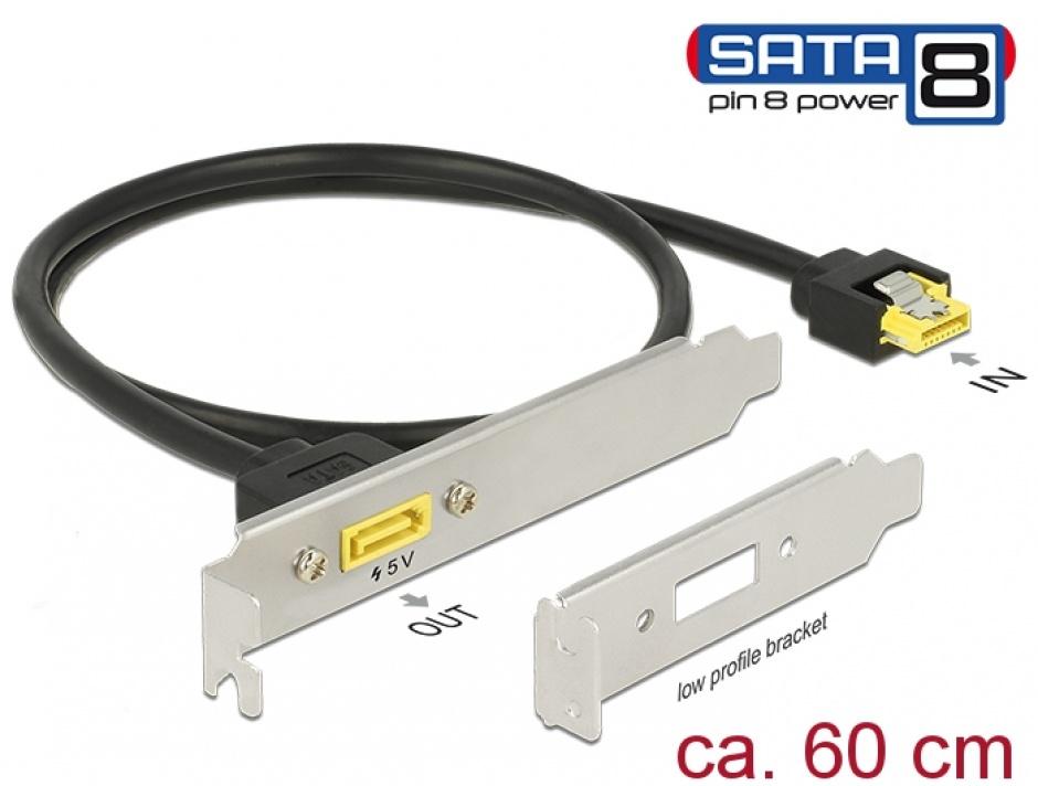 Imagine Slot bracket SATA 6 Gb/s la SATA de alimentare 8 pini 60cm, Delock 84950