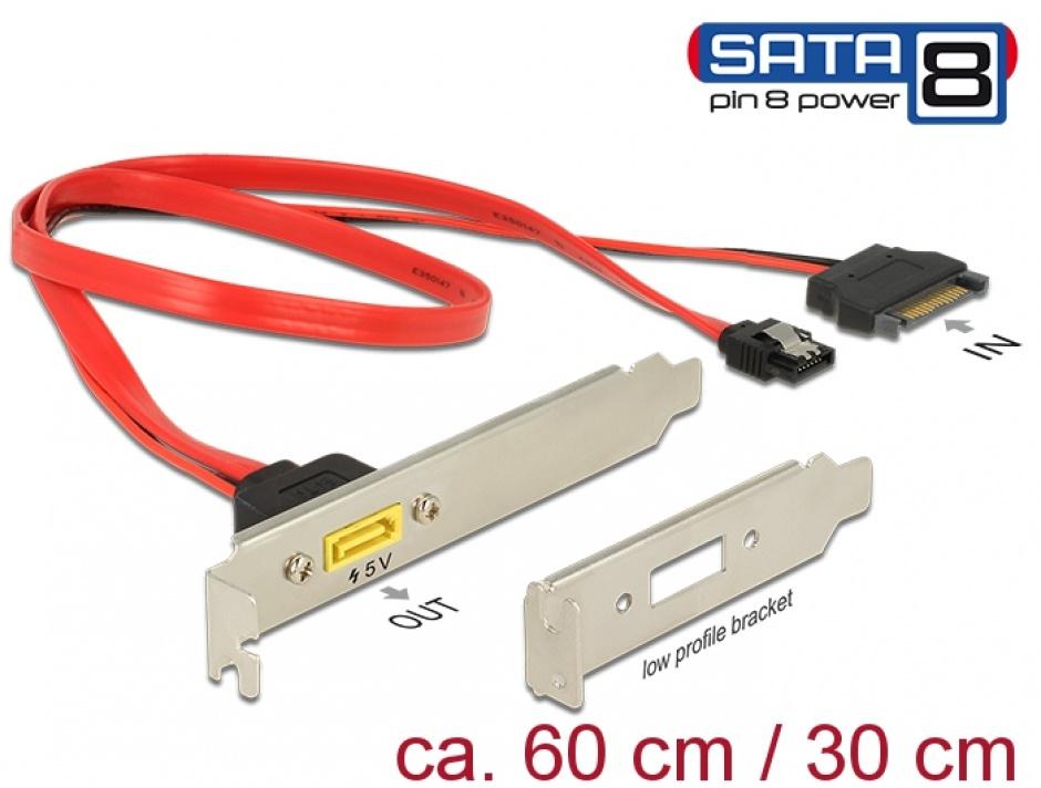 Imagine Slot bracket SATA 6 Gb/s 7 pini + SATA 15 pini alimentare la SATA de alimentare 8 pini, Delock 84951