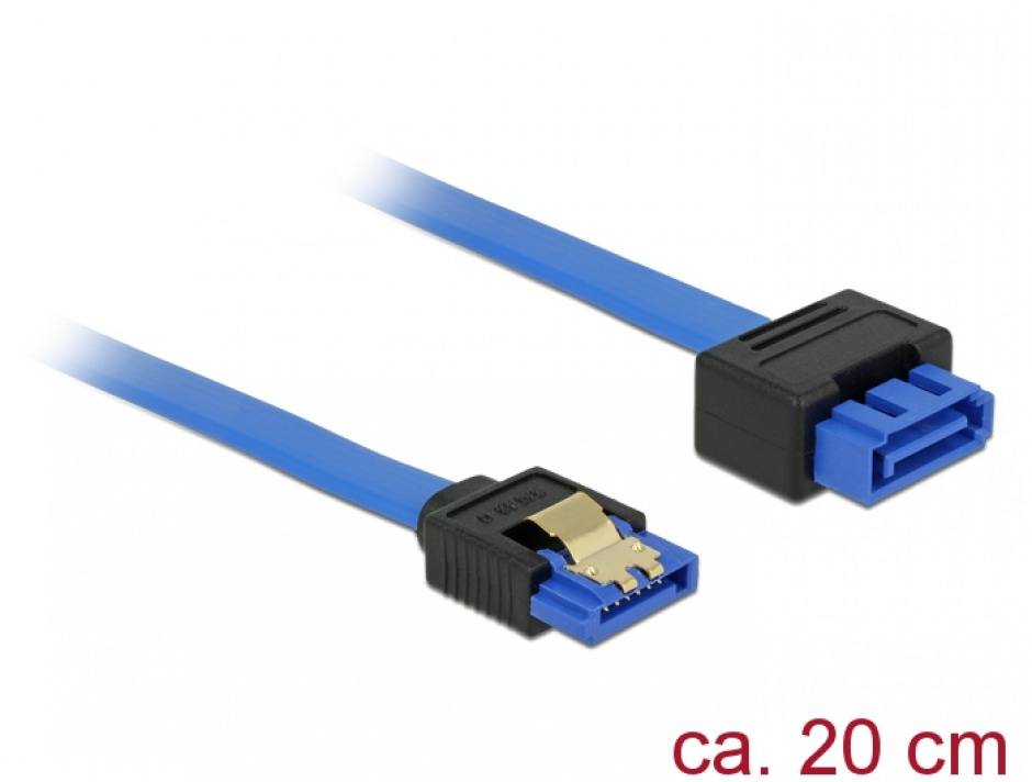 Imagine Cablu prelungitor SATA III 6 Gb/s T-M bleu latchtype 20cm, Delock 84971
