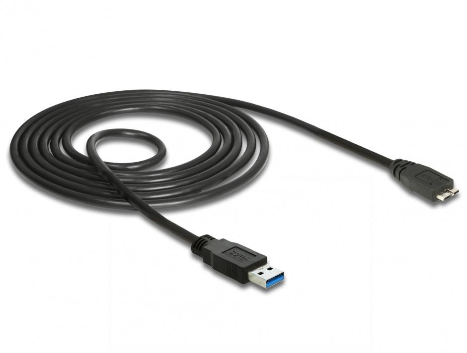 Imagine Cablu USB 3.0 la micro USB-B 1.5m Negru, Delock 85073