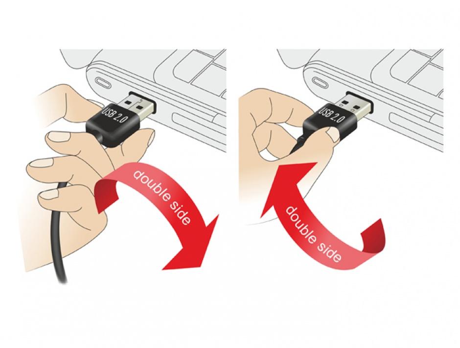 Imagine Cablu prelungitor EASY-USB 2.0 tip A unghi sus/jos T-M 1m Alb, Delock 85187