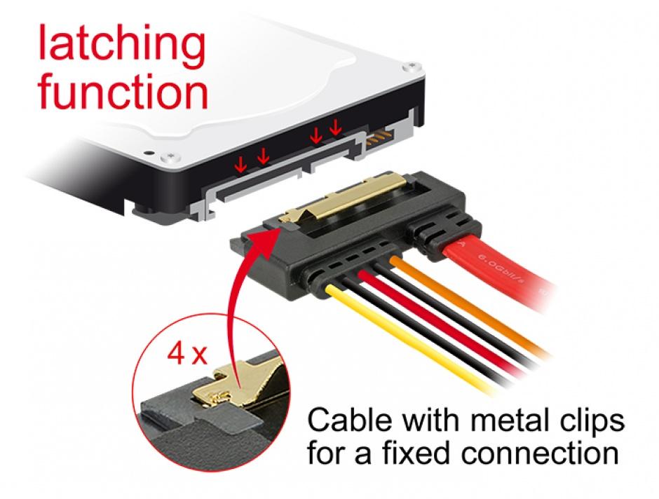 Imagine Cablu de date + alimentare SATA 22 pini 6 Gb/s cu clips la SATA 15 pini + SATA 7 pini unghi jos/drep