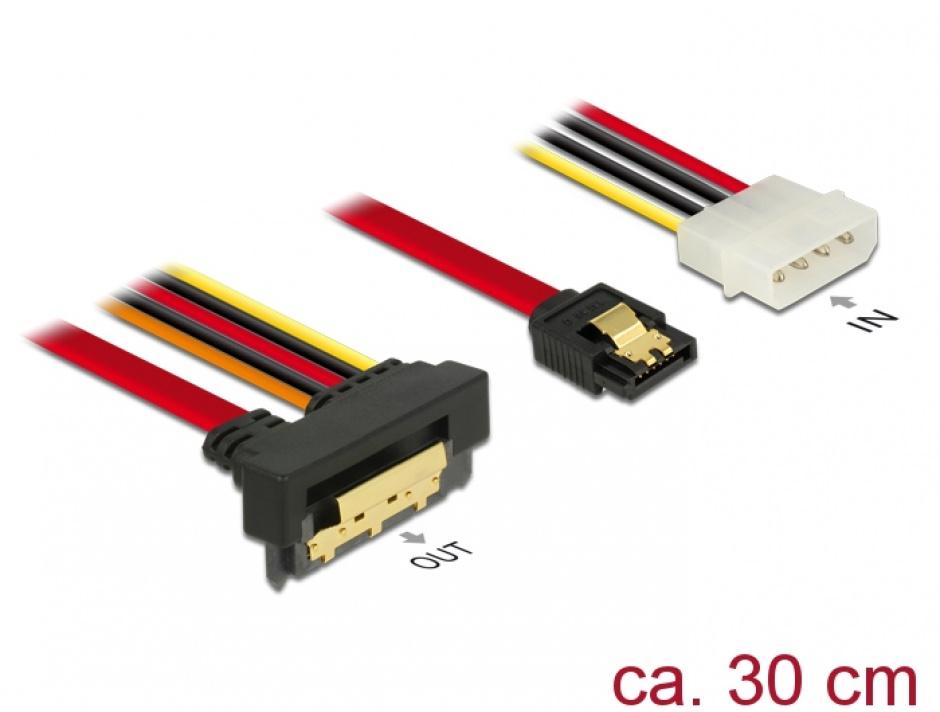 Imagine Cablu de date + alimentare SATA 22 pini 6 Gb/s cu clips la Molex 4 pini + SATA 7 pini unghi jos/drept 30cm, Delock 85231