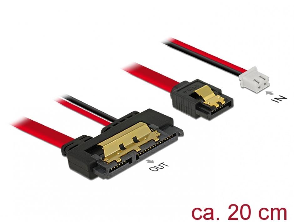 Imagine Cablu de date + alimentare SATA 22 pini 5V 6 Gb/s cu clips la Alimentare 2 pini + SATA 7 pini 20cm, Delock 85240