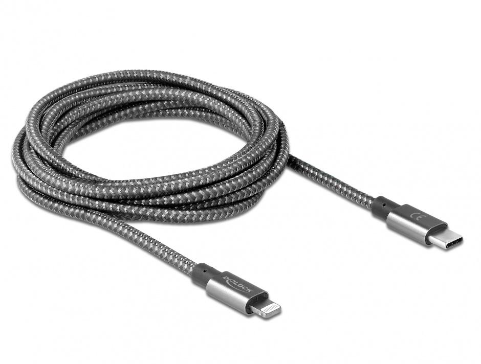 Imagine Cablu de date si incarcare USB-C la iPhone Lightning MFI 1m Gri, Delock 85297