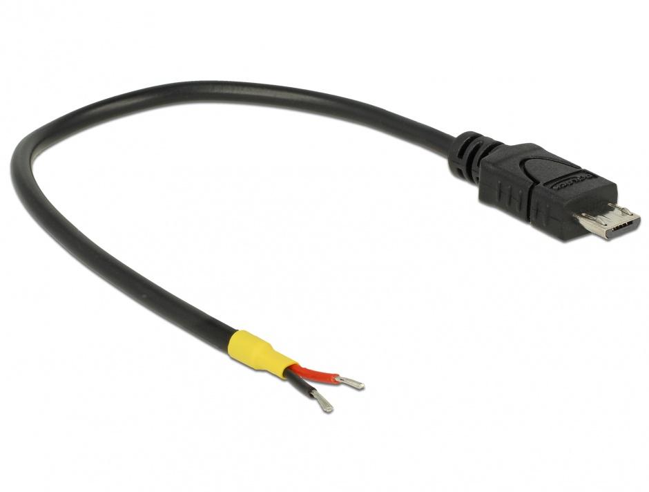Imagine Cablu micro USB-B la 2 x fire deschise de alimentare Raspberry Pi 0.15m, Delock 85306