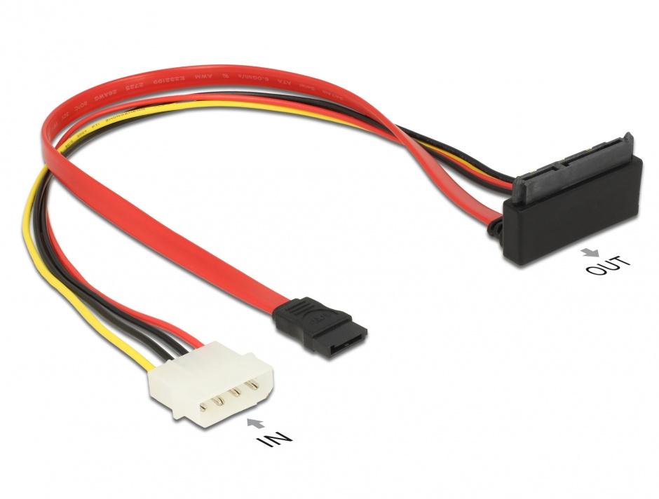 Imagine Cablu SATA 6 Gb/s 7 pini + alimentare Molex la SATA 22 pini 30cm, Delock 85514