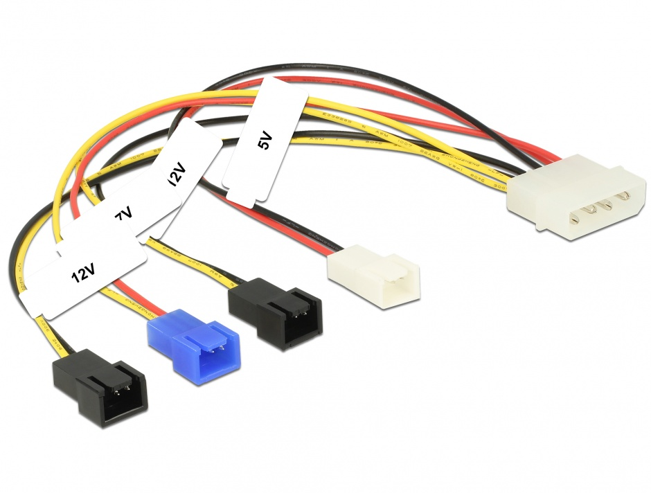 Imagine Cablu de alimentare Molex la 4 x 2 pini ventilator (12 V / 7 V / 5 V) 20cm, Delock 85516
