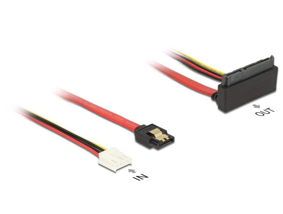 Imagine Cablu SATA III 6 Gb/s + alimentare Floppy 4 pini la SATA 22 pini unghi sus 30cm, Delock 85517