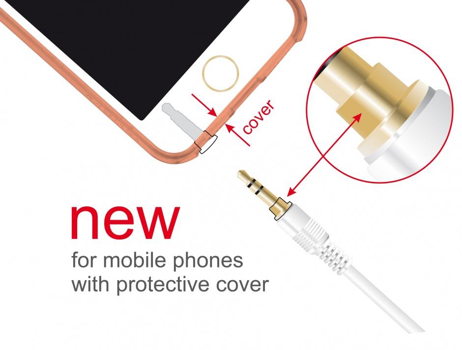 Imagine Cablu stereo jack 3.5mm 3 pini (pentru smartphone cu husa) Alb T-T 0.5m, Delock 85546