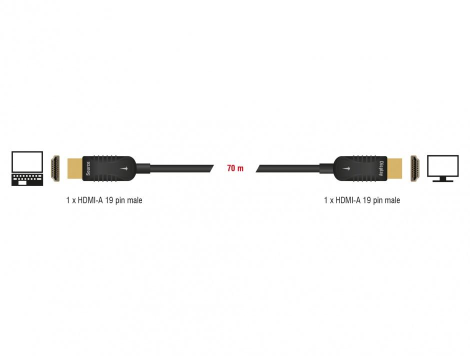Imagine Cablu activ optic HDMI 4K 60Hz T-T 70m, Delock 85679