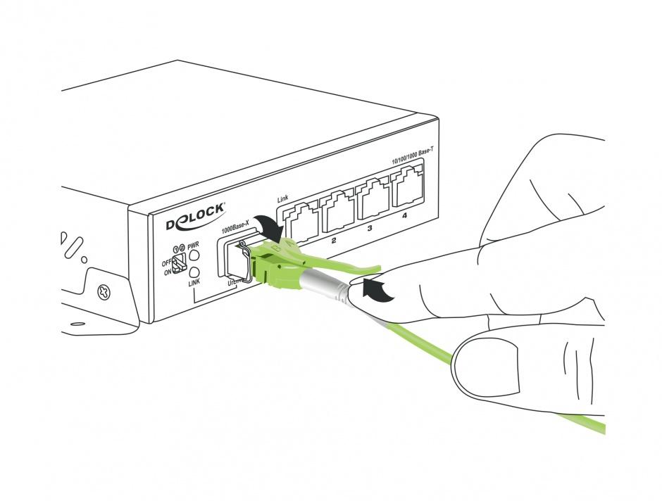 Imagine Cablu fibra optica LC la LC Multi-mode OM5 LSOH Uniboot 2m, Delock 85689