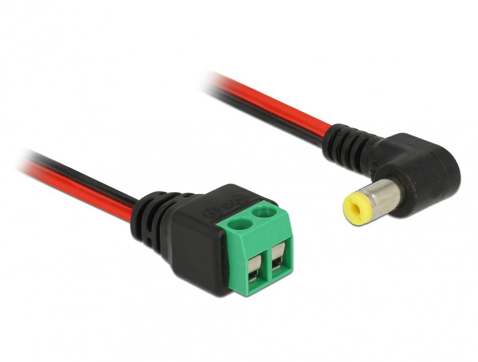 Imagine Cablu de alimentare DC 5.5 x 2.1 mm unghi 90 grade la bloc terminal 2 pini 15cm, Delock 85715