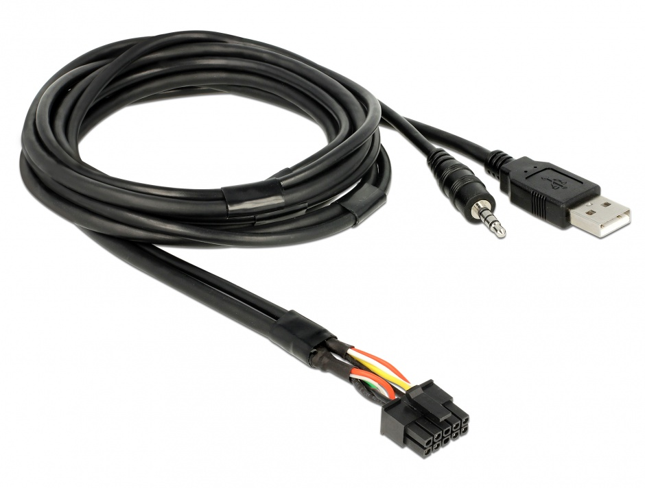 Imagine Cablu USB + jack stereo 3.5 mm 4 pini la USB + jack stereo 3.5 mm 4 pini (audio) T-M 2m Negru, Deloc