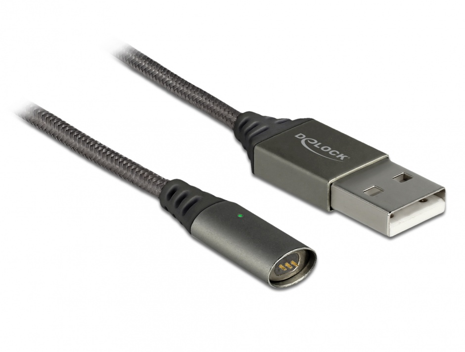 Imagine Cablu USB de incarcare magnetic 1.1m Antracit, Delock 85725